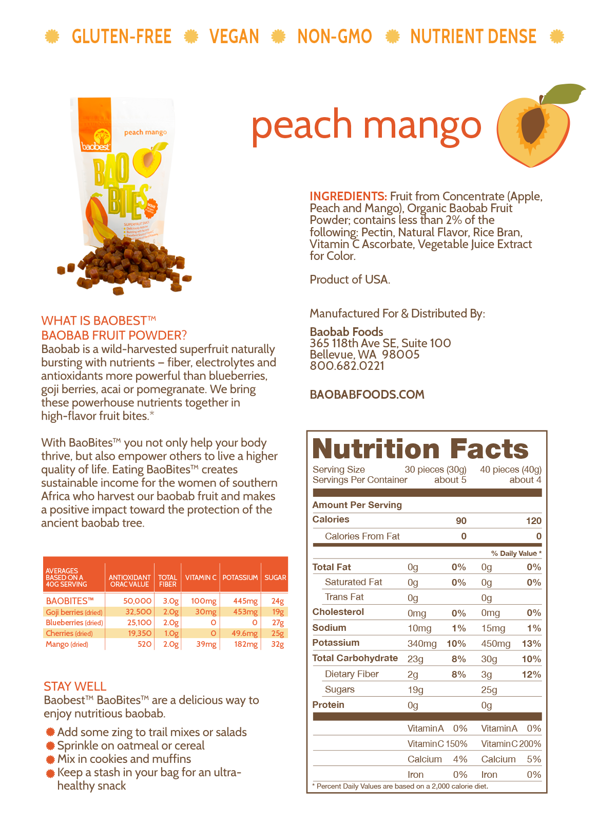 Peach Mango BaoBite Nutritional Information