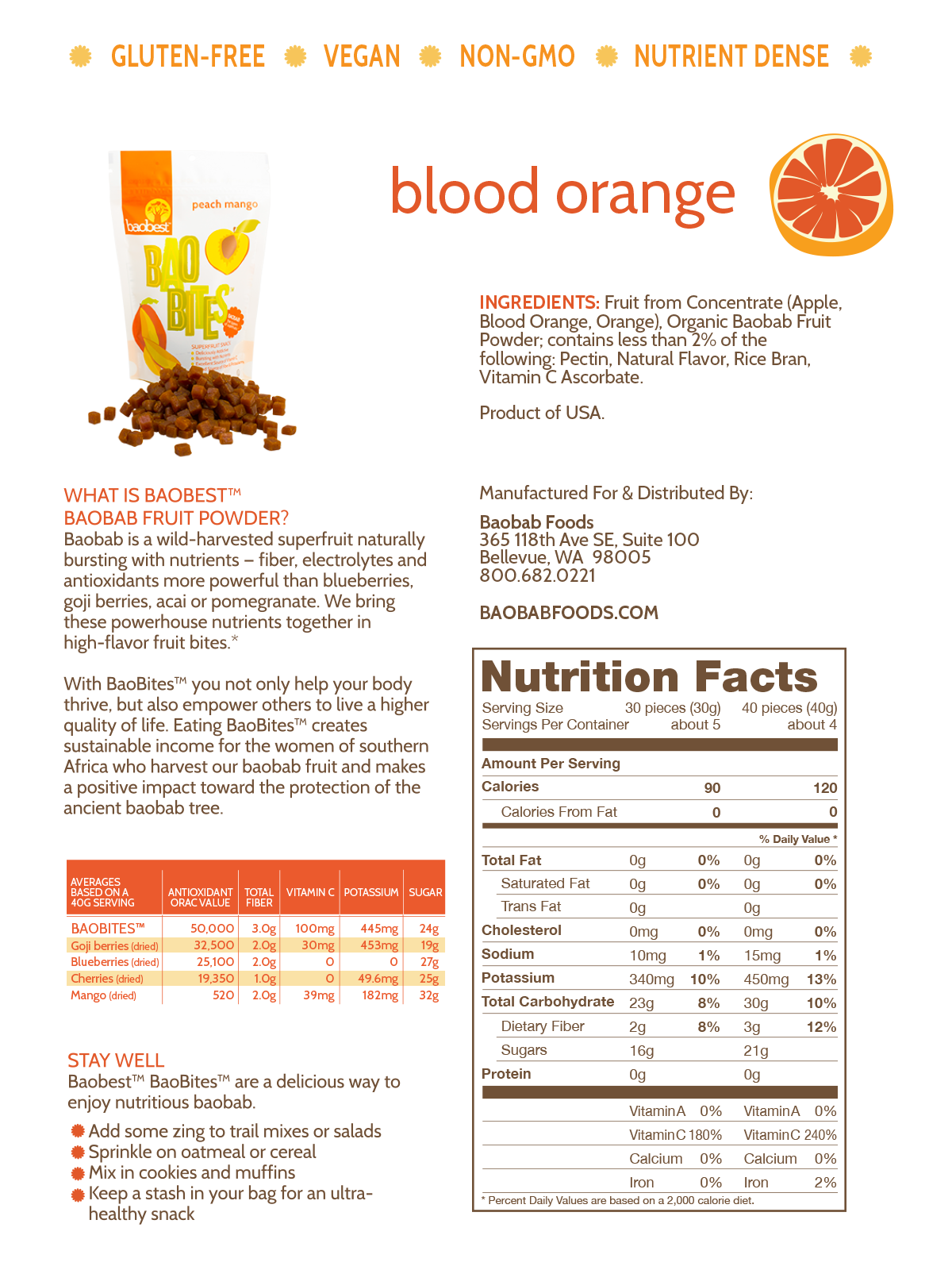 Blood Orange BaoBites Nutritional Facts